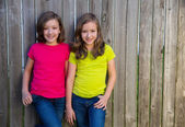 Twin sisters with different hairstyle posing on wood fence — Stockfoto