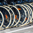 Bicycles front wheel tyres in a row — Photo