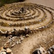 Stock Photo: Atlantis spiral sign in Ibiza with stones on soil