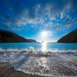 Stock Photo: IbizCalBenirras sunset beach in sJuat Balearic