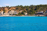 Ibiza Cala dHort d Hort view from boat in Balearic — Stock Photo