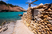 Ibiza Cala Moli beach with clear water in Balearics — Stock Photo