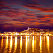 Eivissa Ibiza town downtown at sunset in Balearic — Stock Photo #32952425