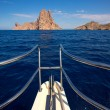 Boating sailing in Ibiza near es Vedra island — Stock Photo