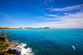 Ibiza Platja des Codolar and Cap des Falco at Balearics — Stock Photo