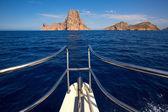 Boating sailing in Ibiza near es Vedra island — Stock Photo