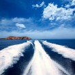 Ibiza Sa Conillera island from boat wake San Antonio — Stock Photo
