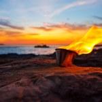 Ibiza fire at sunset in sant antonio de Portmany — Stock Photo #32973613