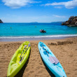 Ibiza cala Sant Vicent beach with Kayaks san Juan — Stock Photo #32983617