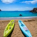 Ibiza cala Sant Vicent beach with Kayaks san Juan — Stock Photo #32983617