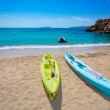 Ibiza cala Sant Vicent beach with Kayaks san Juan — Stock Photo