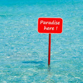 Turquoise tropical sea with red sign saying Paradise here — Stock Photo