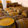 Stock Photo: Wine wooden oak barrels in winery