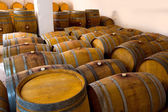 Wine wooden oak barrels in winery — Foto Stock