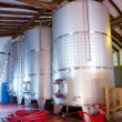 Stainless steel fermentation tanks vessels in winery — Stok fotoğraf