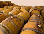 Wine wooden oak barrels in winery — Stock Photo