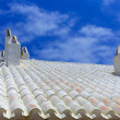 Binibequer Vell in Menorca White roof chimney Sant Lluis — Stock Photo