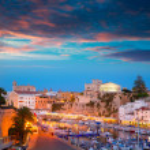 Ciutadella Menorca marina Port sunset town hall and cathedral — Stock Photo #35164229