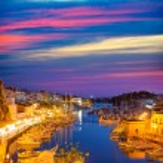 Ciutadella Menorca marina Port sunset town hall and cathedral — Stock Photo #35164631