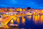 Calasfonts Cales Fonts Port sunset in Mahon at Balearics — Stock Photo