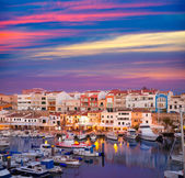 Ciutadella Menorca marina Port sunset with boats — Stock Photo
