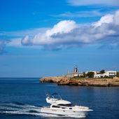 Ciutadella Sa Farola Lighthouse with yatch boat — Stock Photo