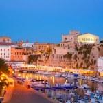 Ciutadella Menorca marina Port sunset town hall and cathedral — Stock Photo #35174287