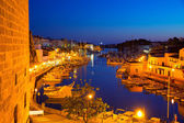 Ciutadella Menorca marina Port sunset town hall and cathedral — Stockfoto