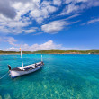 Menorca Es Grau clean port with llaut boats in Balearics — Stock Photo