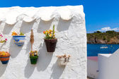Menorca Es Grau white house flower pots detail in Balearic — Stock Photo