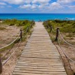 Alaior Cala Son Bou in Menorca turquoise beach at Balearic — Stock Photo
