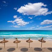 Menorca sunroof row tropical beach at Balearic islands — Stock Photo