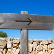 Arrow wooden track blank road sign in Mediterranean — Stock Photo