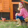 Breeder hens kid girl rancher farmer with chicks in chicken coop — Stock Photo #35694837