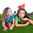 Breeder hens kid sister farmer girls having fun with chicken chi — Stock Photo