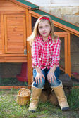 Breeder hens kid girl rancher farmer sitting in chicken tractor — Photo