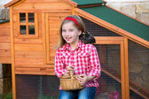 Breeder hens kid girl rancher farmer with chicks in chicken coop — Stock Photo