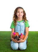 Breeder hens kid girl rancher farmer hug chicken chick — Stock Photo