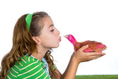 Breeder hens kid girl rancher farmer kissing a chicken chick — Stock Photo