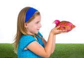 Breeder hens kid girl rancher farmer with chicken chicks — Stock Photo