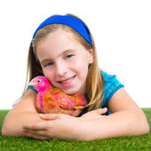 Breeder hens kid girl rancher farmer hug chicken chick — Foto Stock