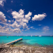 Formentera tropical Mediterranean sea wooden pier — Stock Photo #36028625