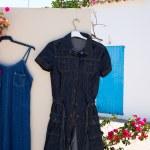 Mediterranean outdoor street market with blue jeans — Stock Photo