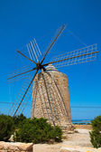 Formentera Windmill wind mill vintage masonry and wood — Stock Photo