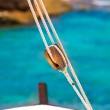 Boat classic pulley from sailboat in Mediterranean — Stock Photo