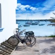 Estany des Peix in formentera with bicycles parking lot — Stock Photo