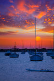 Formentera sunset at Estany des Peix lake — Stock Photo