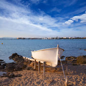 Beached boat in Estany des Peix at Formentera Balearic Island — Stock Photo