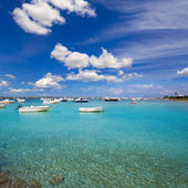 Formentera boats at Estany des Peix lake — Stock Photo