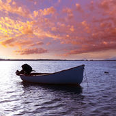 Boat sunset Estany des Peix in Formentera Balearic Island — Stock Photo